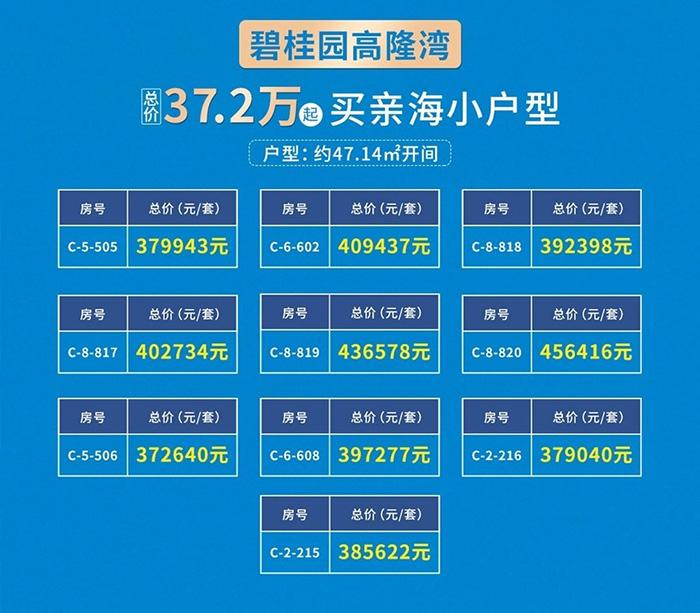 碧桂园高隆湾推出10套亲海小户型限时在售 优惠总价37-45万/套
