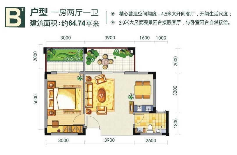 金手指太阳谷温泉城B户型 一房二厅一卫 约64.74平米