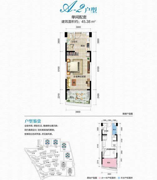 清瀾半島A-2戶型 1室1廳1衛1廚 建筑面積45.38㎡