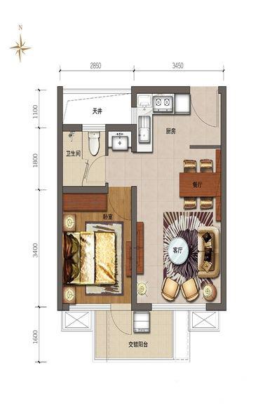 鲁能山海天1室2厅1卫1厨 52.00㎡