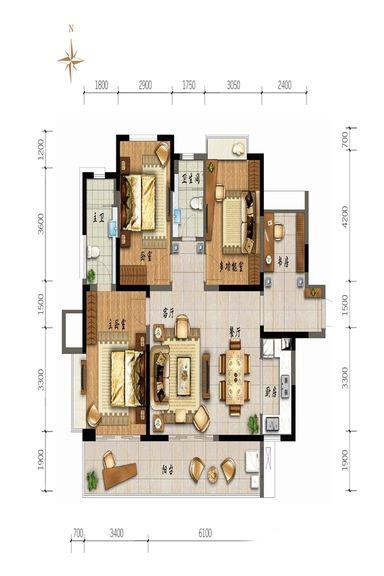 鲁能山海天4室2厅2卫1厨 136.00㎡