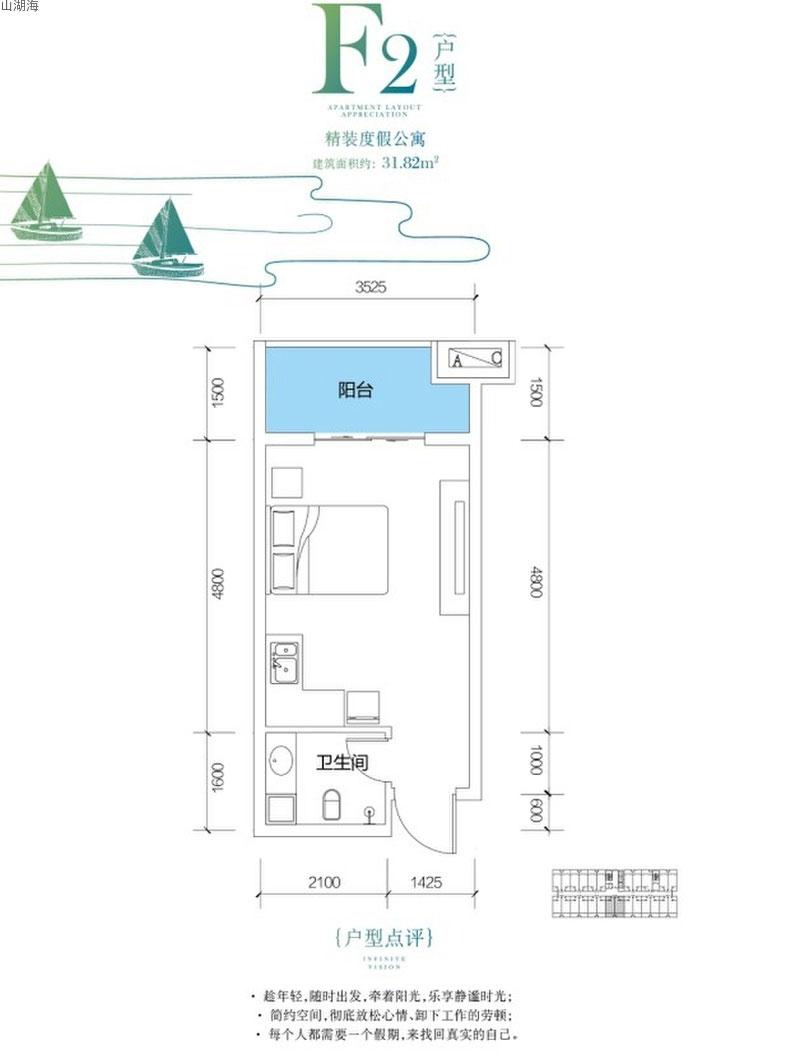 山湖海F2戶型      建筑面積31.82㎡