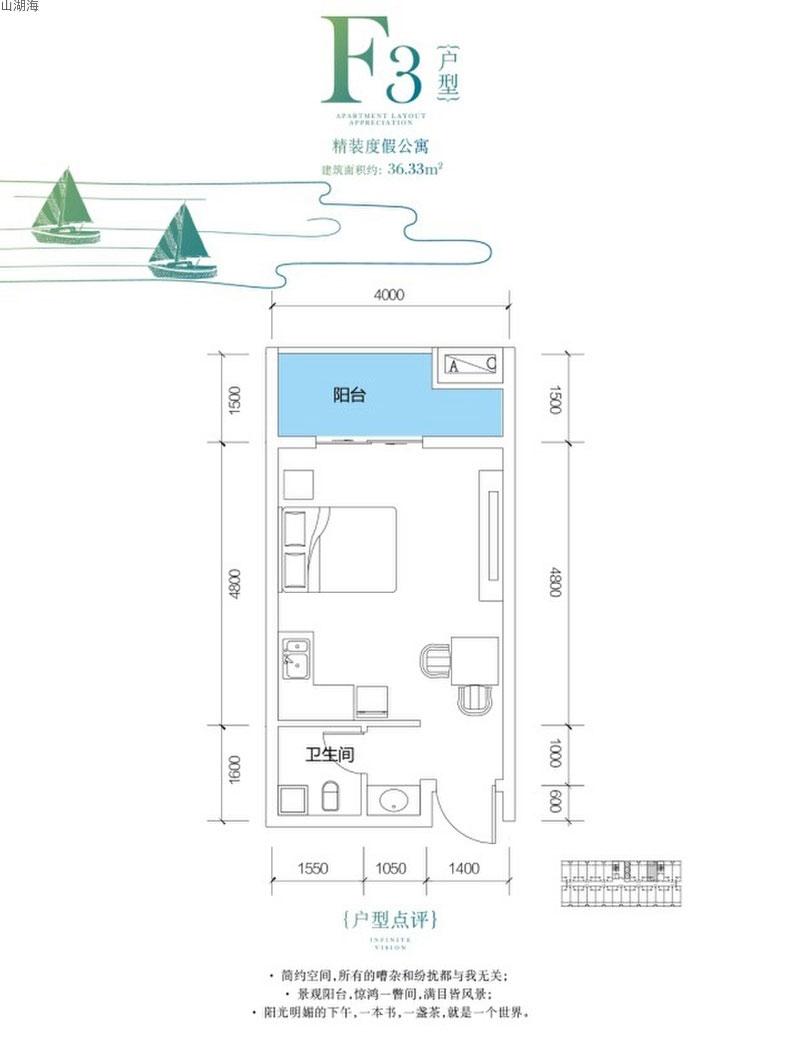 山湖海F3戶型   建筑面積36.33㎡
