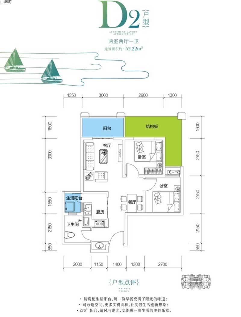 山湖海D2戶型  兩室兩廳一衛  建筑面積62.22㎡