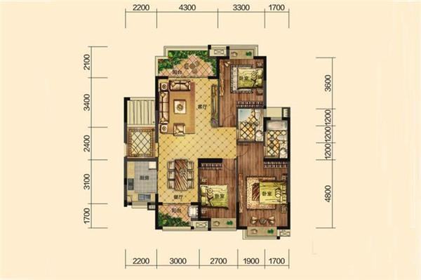 頤養公社陽光城3室2廳2衛1廚 建筑面積134.00㎡