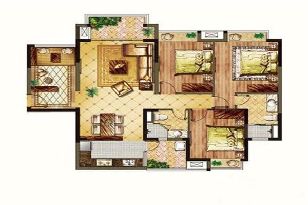 頤養公社陽光城3室2廳2衛1廚 建筑面積123.00㎡